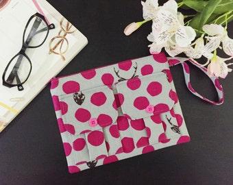 Samber Bucks Gray Wristlet, Wallet Wristlet, Fabric Wallet, Women's Wristlet Wallet, iPhone Wristlet