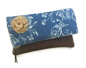 Anemone Blue Fold Over Leather Clutch Purse, Floral Foldover Clutch Bag, Brown Leather Evening Clutch, Handmade Clutch, 144 Collection