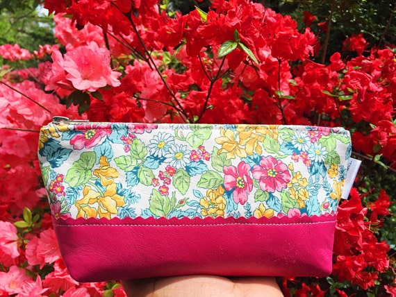 Leather Pouch, Makeup Bag, Gift for Her, Bridesmaid Gift, Cosmetic Pouch, Toiletry Bag