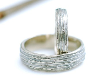 Tree Bark Wedding Rings - 14k Palladium White Gold Wedding Band Set - 4mm and 6mm - made to order wedding rings in recycled metal