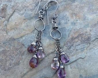 MOSS AMETHYST  earrings, mini chandelier earrings, sterling silver