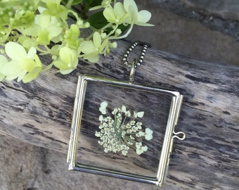 Pressed Botanical Necklace Queen Anne's Lace Glass Pendant