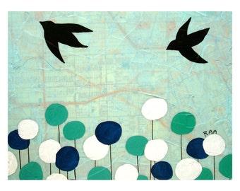 Hackett Map Print // Map Art // Bird Art // Travel Art // Circle Art // Modern Decor // Modern Kid Art // Wanderlust // Rachel Austin 11x14