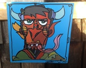 acrylic painting Krampus portrait on high quality wood panel 8x8 inches