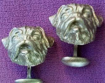 Vintage 1990s Cufflinks Figural Dogs Cast Mixed Metal OOAK 20151112J143