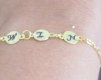 Initial Bracelet, Gold Three Initial Bracelet, Gold Initial Bracelet,Gold Initial jewelry,3 Monogram Charm,, Mother's Gift Free Shipping USA