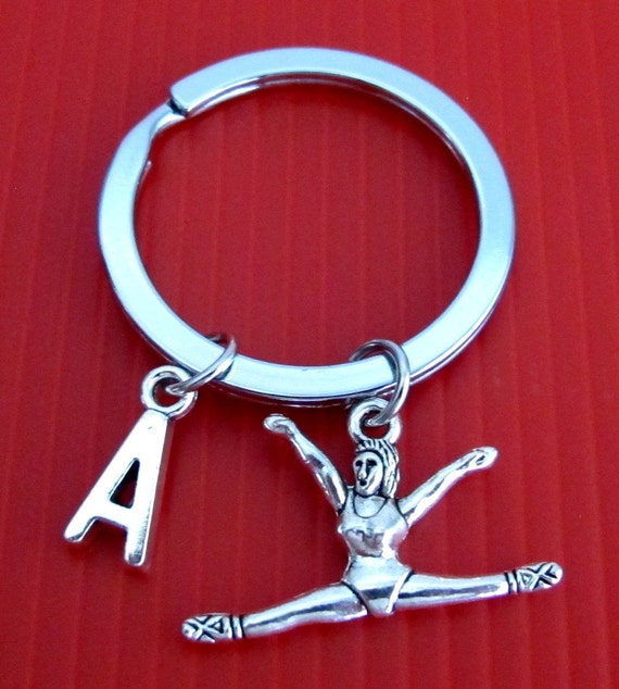 Gymnast Keychain, Gymnast Key Ring, Exercise Keychain, Initial Keychain, Personalized Keychain, Gymnastics Keychain Free Shipping In USA