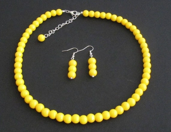 Yellow Pearl Necklace Yellow Bead Necklacewedding Necklace