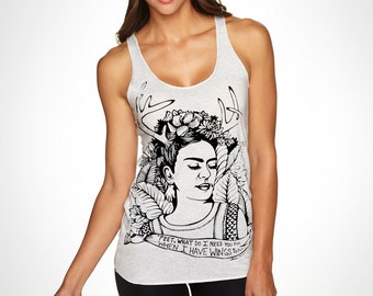 S,M, -Heather White/Gray Racerback Tank with Frida Screen Print