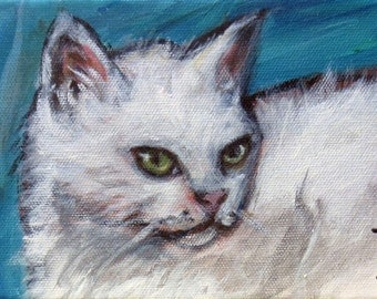 White Cat portrait smile original cat painting