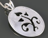 Sterling Silver Oval Pendant. Saw Pierced. Abstract Floral Pattern. 16 Inch, 18 Inch, or 20 Inch Necklace. f16p003