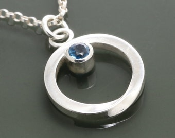 Genuine London Blue Topaz Mobius Pendant - Necklace - December Birthstone - Sterling Silver f15n007