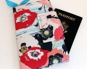 Travel or Passport Organizer Wallet Smart phone Wallet Floral Stripe