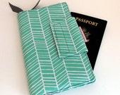 Travel or Passport Organizer Wallet Smart phone Wallet Mint Green Herringbone Chevron Pattern