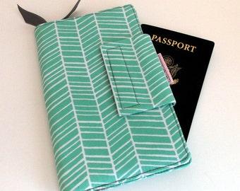 Travel wallet,Passport cover Wallet, Smart phone Wallet Mint Green Herringbone Chevron Pattern In stock ready to ship