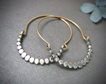 beaded minimalist ... mixed metal hoops