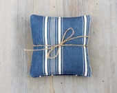 Pair of Vintage French Ticking Lavender Sachets, Blue & Cream Stripes, French Country