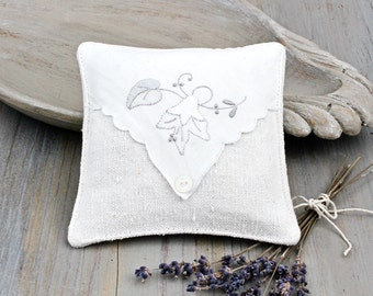 Linen Lavender Sachet with Embroidered Hankie, Gray/Ivory Cottage Charm