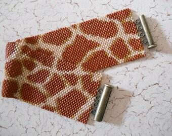 Giraffe Print Peyote Stitch Cuff Bracelet