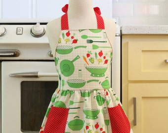 Vintage Inspired Green Pots and Pans Full Apron for Little Girls