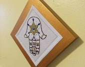 Mother Blessing Hamsa Tile | Judaica | Amulet | Hamsa | Embroidery | Fiber Art