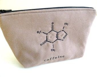 Caffeine Formula Symbol Zippered Toiletry Bag, Embroidered Tan Wool