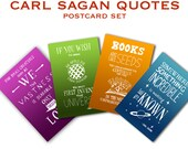 Carl Sagan Postcards, 4 Hand Lettered Inspirational Quotes, Outerspace and Astronomy Art, Blank Card Stationary, Nerdy Postcards