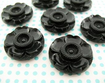 8 Vintage BLACK Plastic Flower Buttons 29mm
