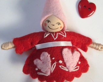 Be Mine Art Doll Ornament in Red
