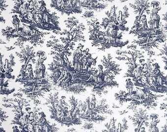 ON SALE - 10% Off Waverly Rustic Toile Navy White Toile Home Decorating Fabric BTY