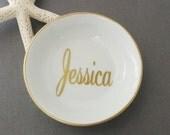 Name Jewelry Dish, Custom Jewelry Tray, Personalized Jewelry Dish, Coin Dish, Initial Jewelry Tray, Monogram, Ring Dish