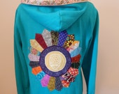 Upcycled Zip Up Hoodie Turquoise Patchwork  Mandala Grateful Dead Stealie OOAK Womens Size M Medium Hippie clothes, upcycled hoodie,