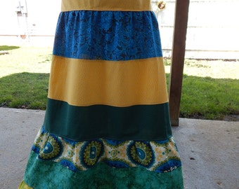 Patchwork Skirt, Tiered Spinner Skirt, Hippie Patchwork skirt,  Full Length Skirt, Hippie Patchwork Festival Maxi Skirt, hippie clothes