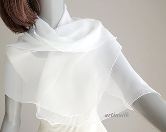 """White Sheer Scarf, Small Silk Coverup, Petite Girl Scarf,  White Shoulder Wrap, Flower Girl, 19""""x 42"""", Petite S XS"""