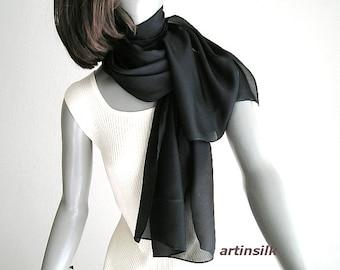 Black Scarf Wrap Pure Silk Habotai, Mens Women Scarf Unisex Gender Fluid, Tie Wrap Handmade, Artinsilk.
