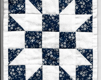 """Free US Shipping! Miniature Blue & White """"Sister's Choice"""" #6291 Dollhouse Quilt or Rug Great for OOAK Sculpt Doll"""