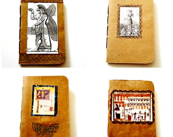 Recycled Upcyled Paper Grocery Bag Handbound Notebooks with Hand Drawn and Collage Art Freya Frigg Religous Mythology