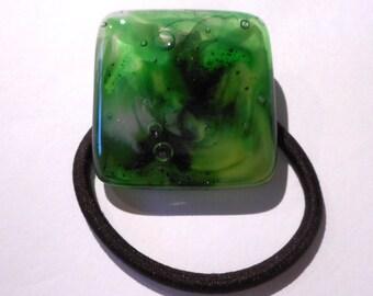 Green Glass Ponytail Holder, Pot Melt Ponytail Holder, Green Fused Glass Hair Tie, Handmade Hair Accessories