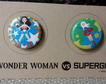 Wonder Woman vs Supergirl Magnets