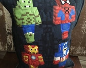 30%OFF SUPER SALE- Minecraft Avengers Throw Pillow-Marvel Minecraft-Upcycled Eco Friendly-Quilted-