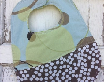 35% OFF CRAZY SALE- Quilted Dot Bib-Wee Ones Bib Collection-Reversible