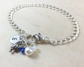 Petite Turtle Charm Bracelet - Hand Stamped Sterling Silver - Personalized Charm Bracelet - Monogrammed Bracelet