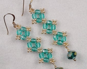 Hand Beaded Sparkling Green w/gold Crystal Drops - Earrings