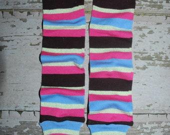 hot pink, blue, brown, baby leg warmers, stripes, legwarmer, leggings, babylegs, toddler girl, costume, dress up clothes, legwarmers, dance