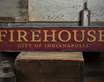 custom fire station sign primitive rustic hand made vintage