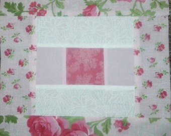 Set of 12 Individual Already Pieced Delicate Pink Floral Log Cabin Quilt Blocks Presewn 9 1/2 x 9 1/2 inches