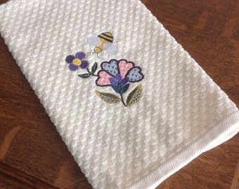 Jacobean Flower and Bumble Bee/Kitchen Towel/Embroidered