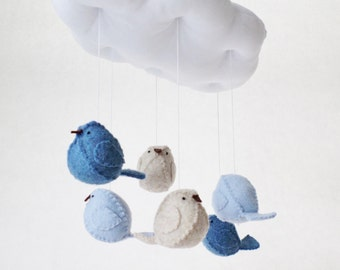 Blue baby mobile - gender neutral nursery colours - cloud mobile- bird mobile