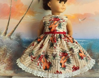 Dress Doll Clothes for 18 Inch Dolls Christmas Holiday Music Medley Susan Winget Serenade with Vintage Lace