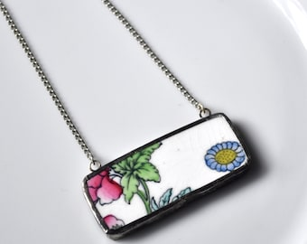 Broken China Jewelry Bar Necklace - Pink Green and Blue on White